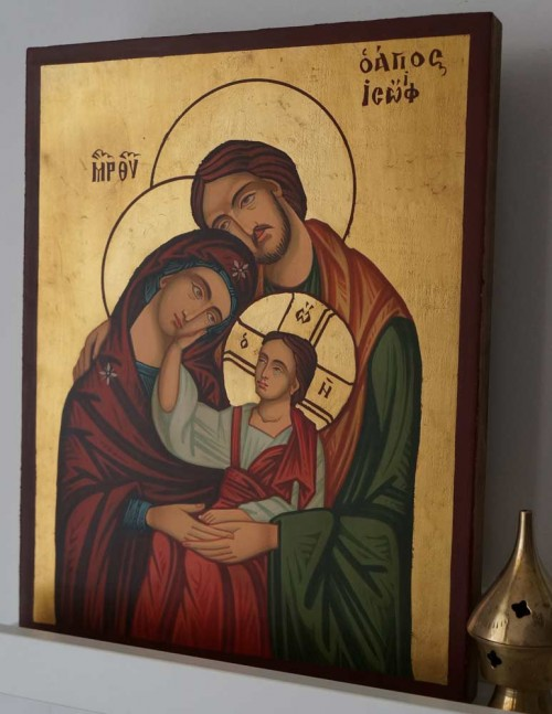 Holy Family Hand Painted Byzantine Orthodox Icon on Wood
