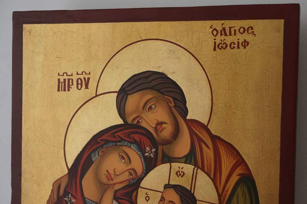 Holy Family Hand Painted Orthodox Icon on Wood