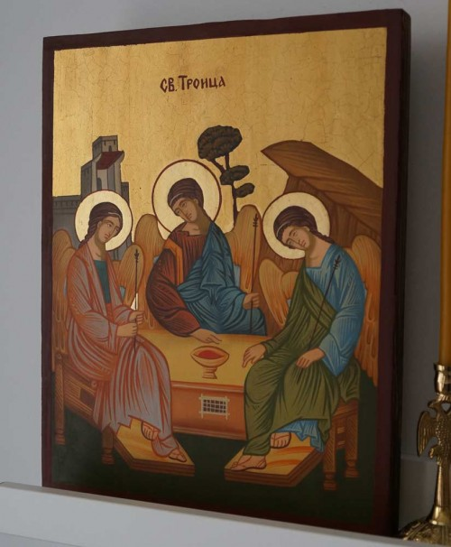Holy Trinity Andrei Rublev Hand Painted Byzantine Orthodox Icon on Wood