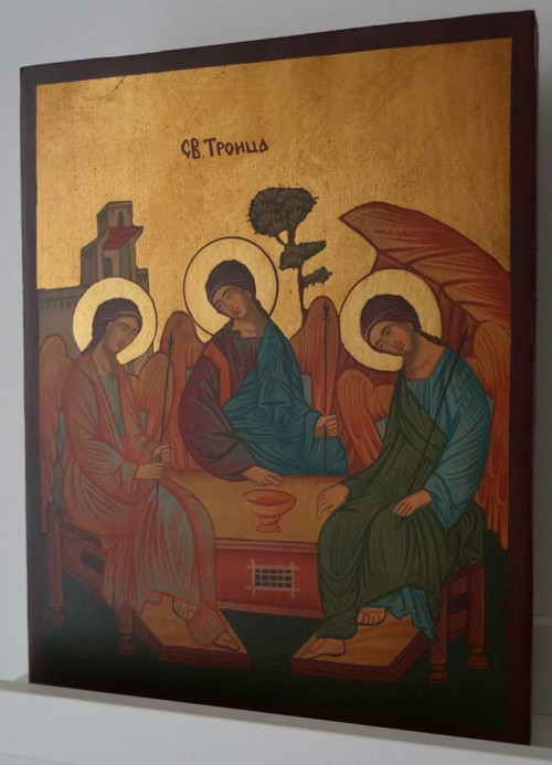 Holy Trinity Andrei Rublev Hospitalirt of Abraham Hand Painted Orthodox Icon on Wood
