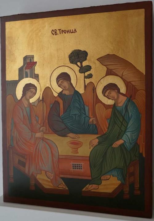 Holy Trinity Andrei Rublev Hospitalirt of Abraham Hand Painted Orthodox Icon on Wood