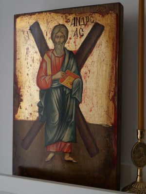 Saint St Andrew with Cross Hand-Painted Orthodox Icon