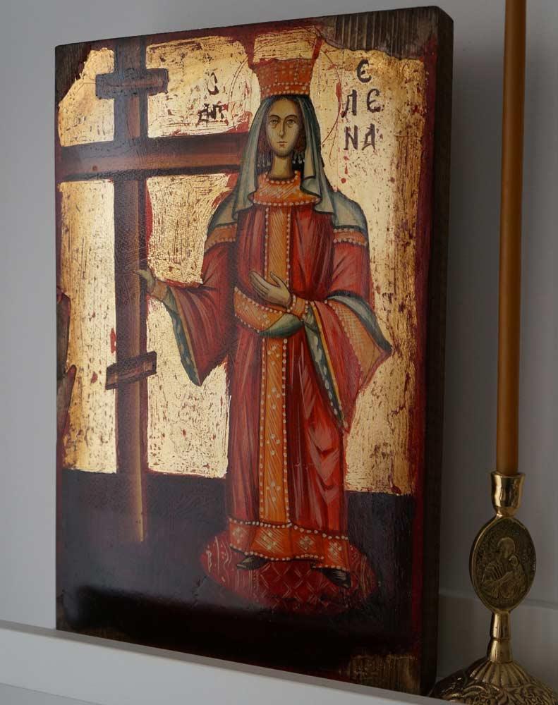 Saint Helen Helena Hand-Painted Greek Orthodox Icon