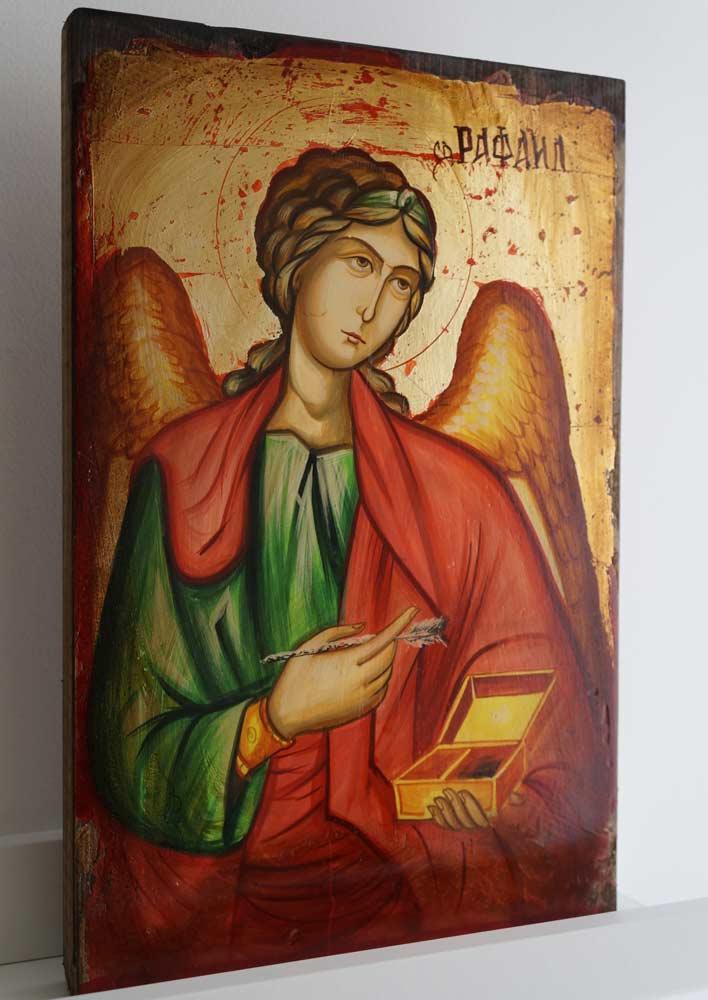 Archangel Raphael Hand-Painted Byzantine Icon