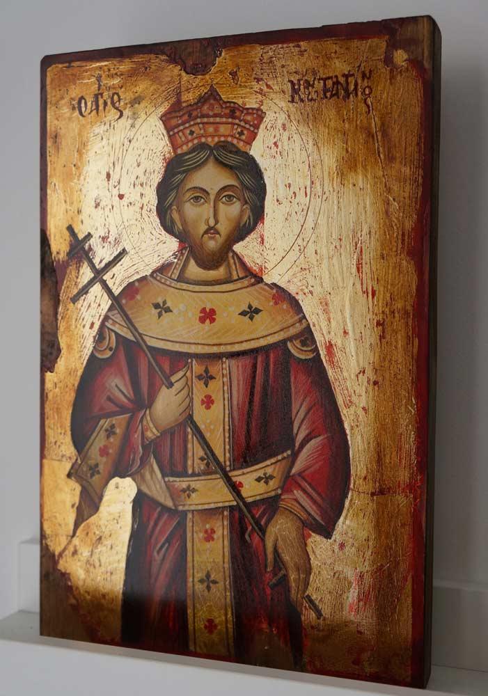 Saint Constantine Hand-Painted Greek Orthodox Icon