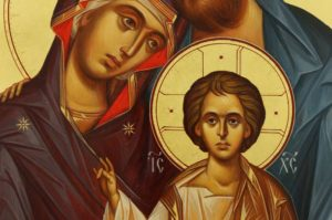 The Holy Family Hand Painted Byzantine Orthodox Icon on Wood