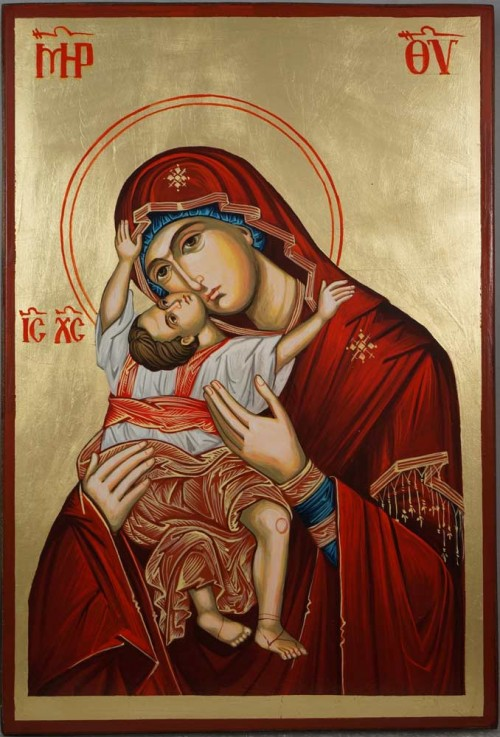 Hand-Painted Orthodox Icon of Theotokos Kardiotissa