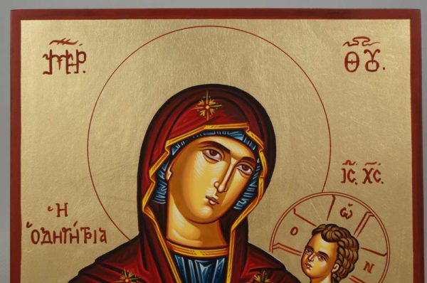 Virgin Mary Hodegetria Hand-Painted Greek Icon