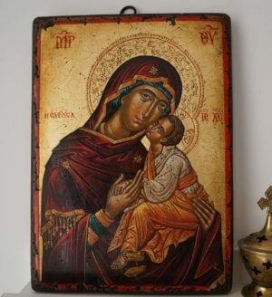 Theotokos Eleusa Mount Athos Hand-Painted Icon