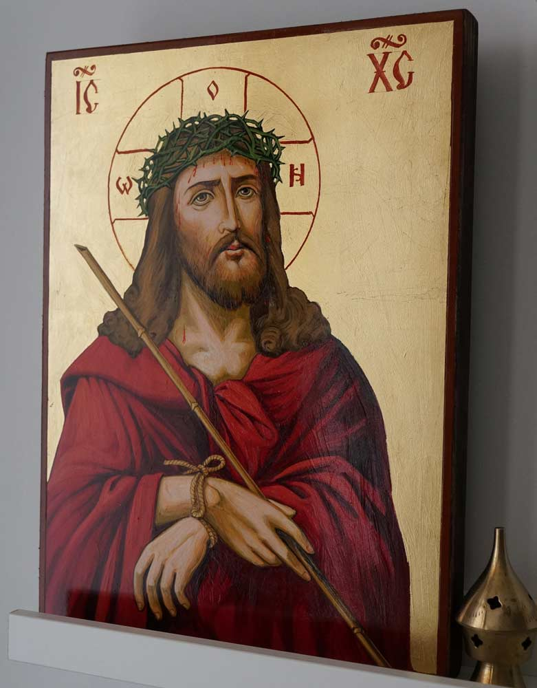 Hand-Painted Orthodox Icon of Jesus Crown of Thorns Large