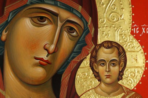 Virgin of Kazan Hand-Painted Byzantine Icon Detail