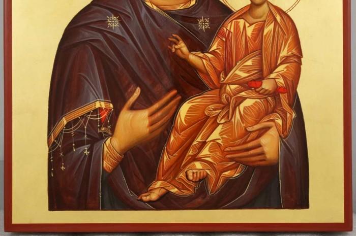 Mother of God Hodegetria Hand Painted Byzantine Orthodox Icon on Wood