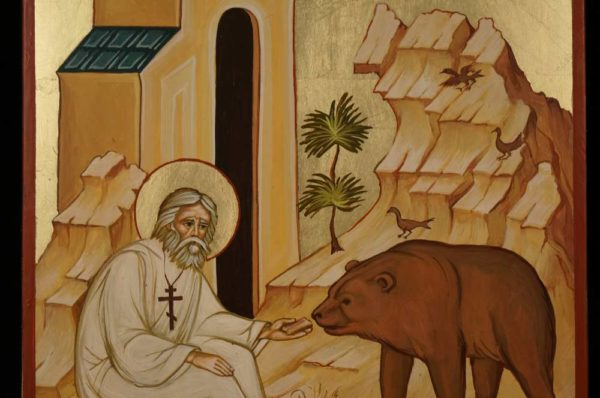 St Seraphim and the Bear Hand Painted Orthodox Icon
