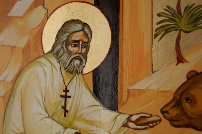 St Seraphim of Sarov Hand-Painted Icon Detail