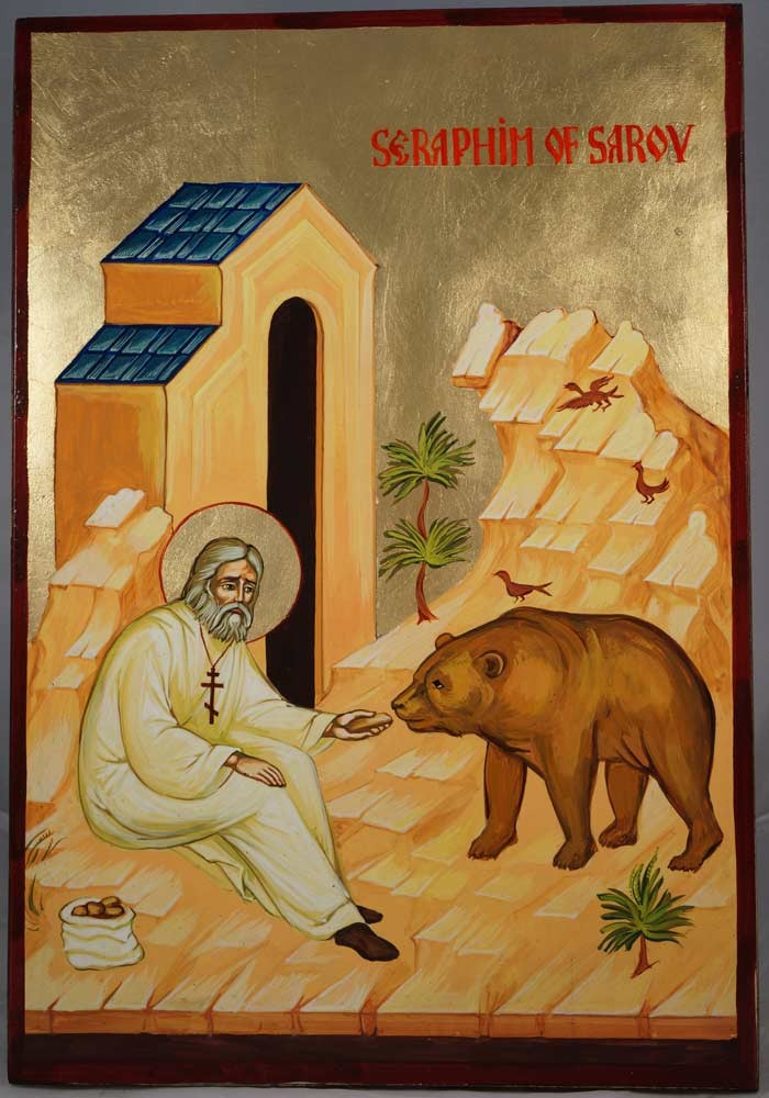 St Seraphim and the Bear Hand-Painted Russian Icon