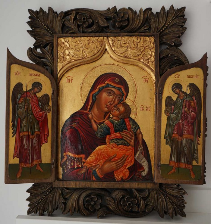Virgin Mary Eleusa Hand-Painted Triptych