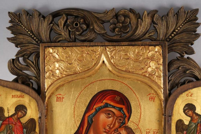 Virgin Mary Eleusa Hand-Painted and Hand-Carved Orthodox Triptych