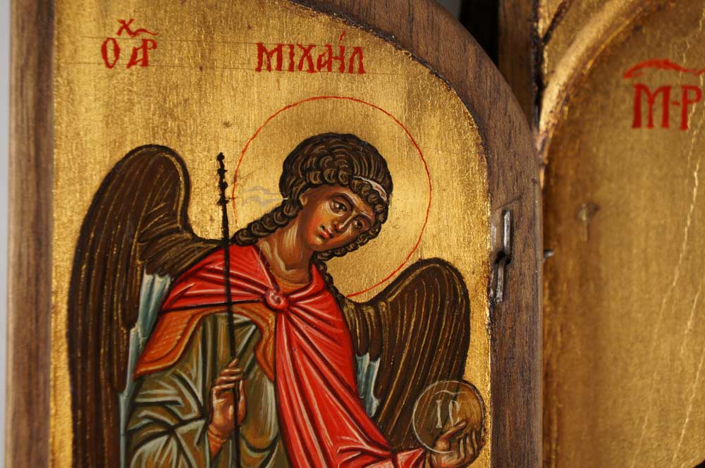 Archangel Michael Hand-Painted Triptych