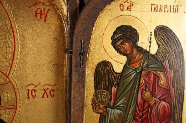 Archangel Gabriel Hand-Painted Triptych