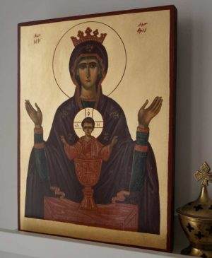 Virgin of The Inexhaustible Cup Hand-Painted Byzantine Icon