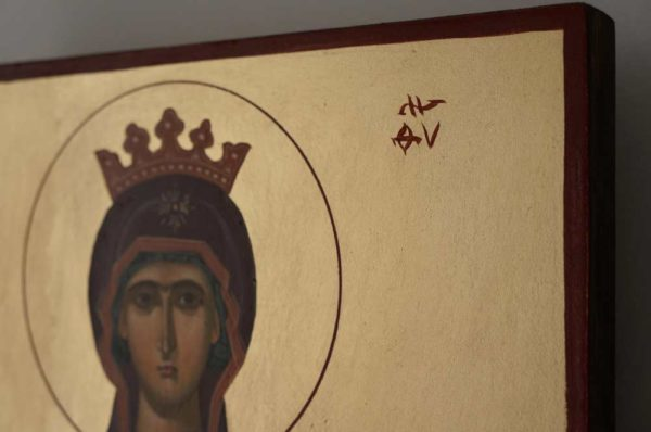 Virgin Mary Inexhaustible cup Hand-Painted Icon Detail