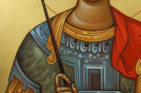 St George the Victory-Bearer Hand-Painted Byzantine Icon Detail