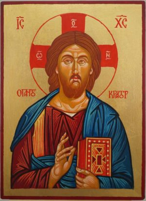 Jesus Christ Pantocrator Hand Painted Byzantine Icon on Wood