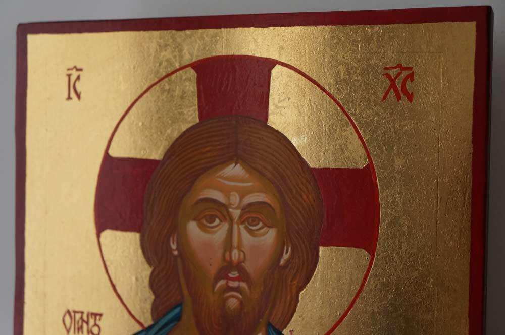 Jesus Christ Pantocrator Hand Painted Orthodox Icon on Wood