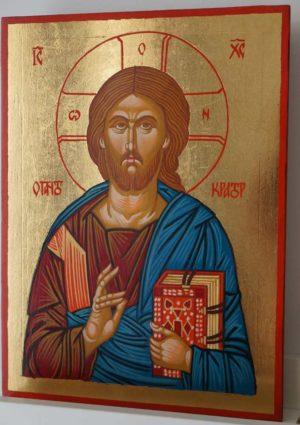 Jesus Christ Pantokrator Hand Painted Byzantine Orthodox Icon