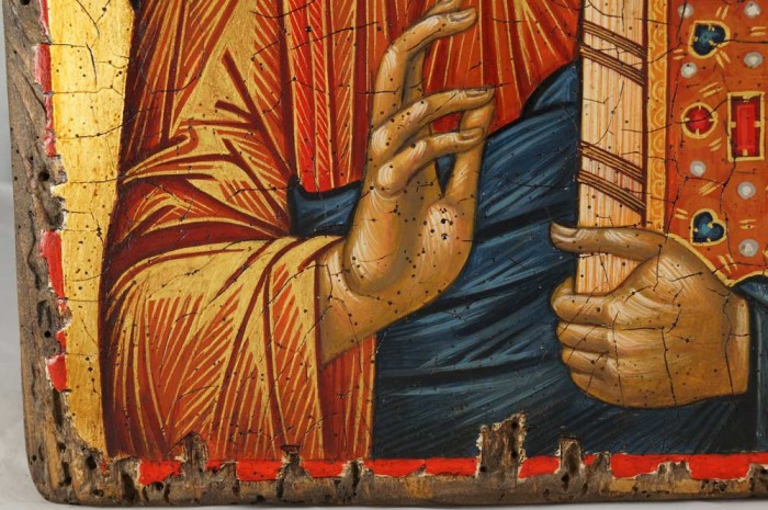 Jesus Christ Pantocrator Hand-Painted Icon Detail