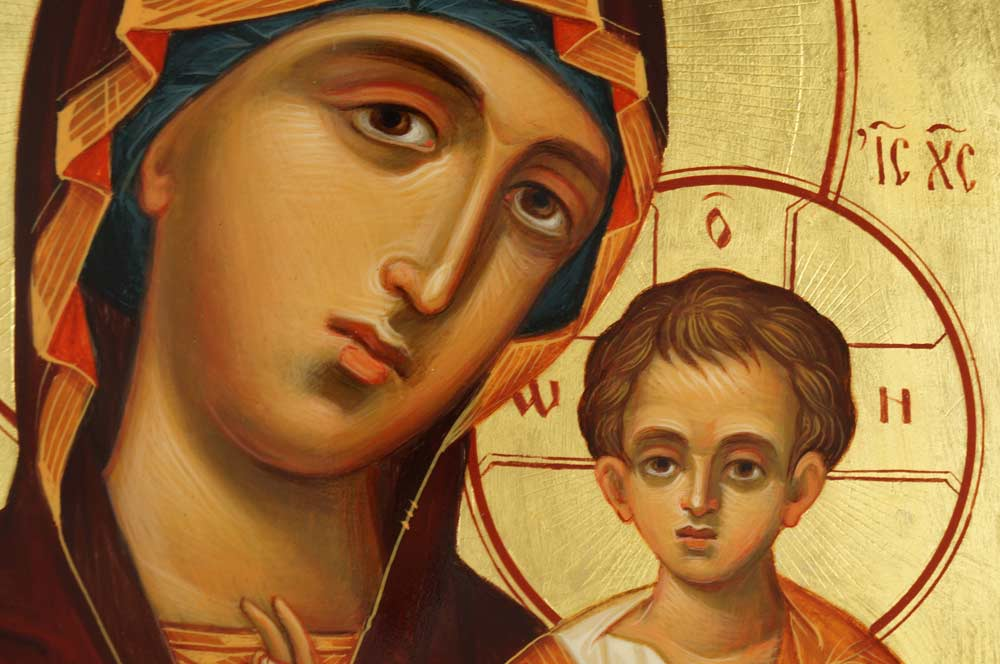 Kazanskaya Mother of God Hand-Painted Icon Detail