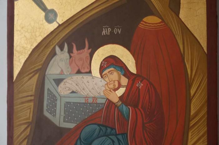 Nativity of Christ Hand Painted Byzantine Orthodox Icon on Wood