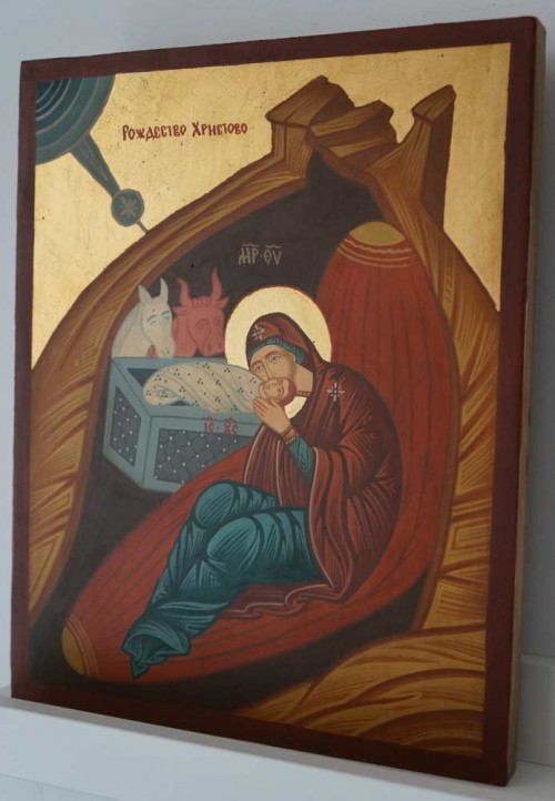 Nativity of Christ Hand Painted Byzantine Orthodox Icon on Wood