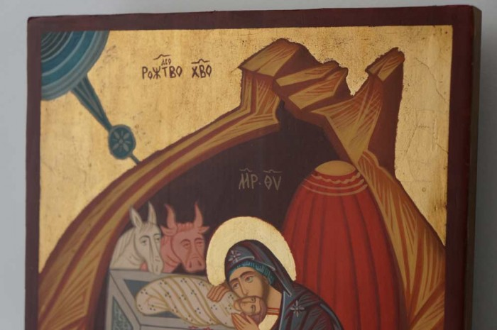 Nativity of Christ Hand-Painted Orthodox Icon on Wood