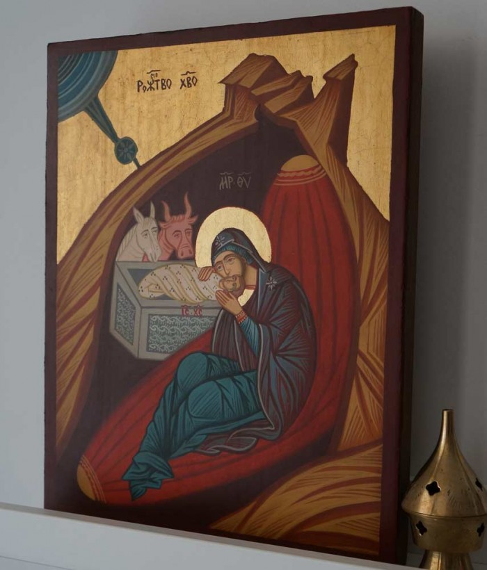 Nativity of Christ Hand Painted Byzantine Orthodox Icon