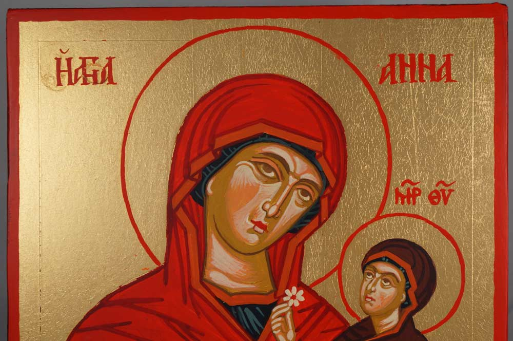 St Anne Holy Mother of Mary Hand-Painted Byzantine Icon