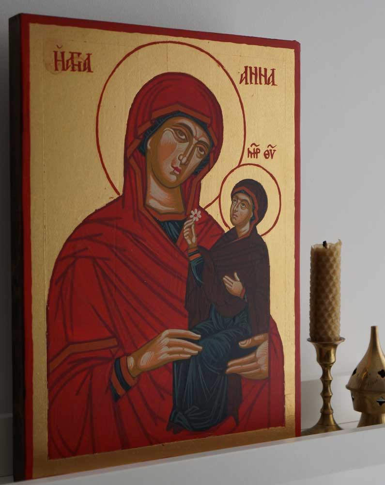 Saint Anna and Mary Hand-Painted Byzantine Icon