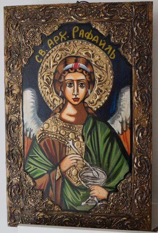 Saint Raphael the Archangel Hand-Painted Byzantine Icon