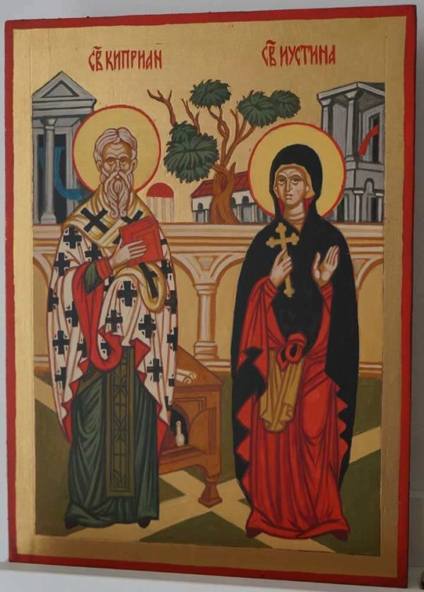 Saints Cyprian and Justina Hand Painted Byzantine Orthodox Icon on Wood