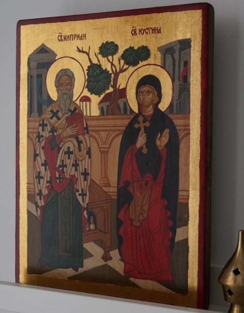 Saints Cyprian and Justina Hand-Painted Byzantine Icon