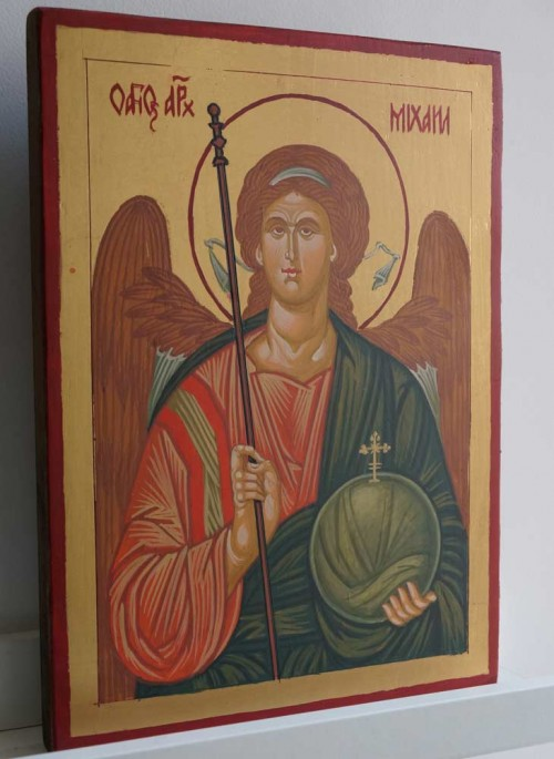St Michael the Archangel Icon Hand Painted on Wood