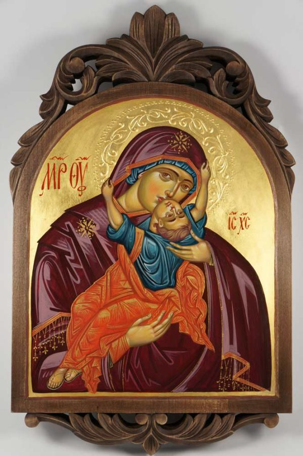 The Virgin with the Playing Child Hand-Painted Byzantine Icon