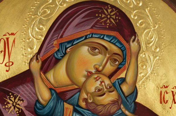The Virgin with the Playing Child Hand-Painted Byzantine Icon Detail