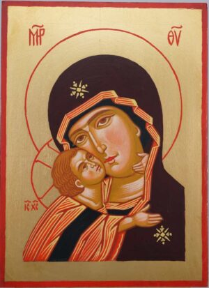 Theotokos Eleousa Hand Painted Orthodox Icon on Wood