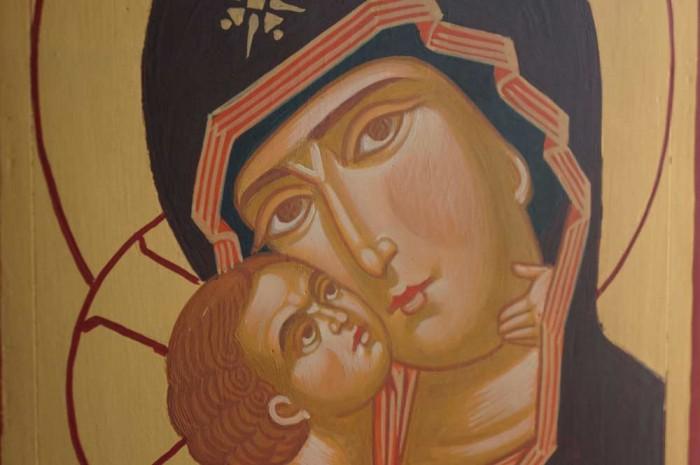 Theotokos Eleousa Vladimir Hand Painted Orthodox Byzantine Icon of Wood