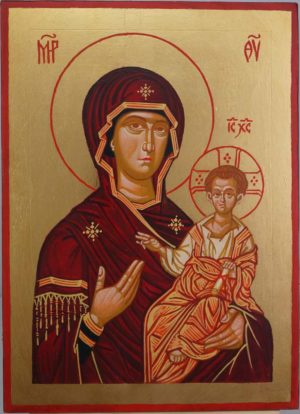 Theotokos the Guide Hand Painted Greek Ortohdox Icon on Wood