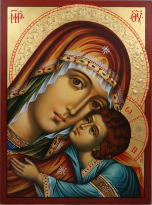 The Virgin Glykofilousa Hand-Painted Orthodox Icon