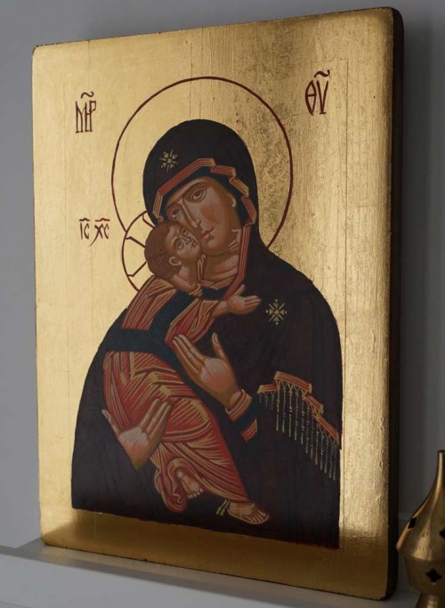 Hand-Painted Byzantine Icon of Vladimirskaya Mother of God