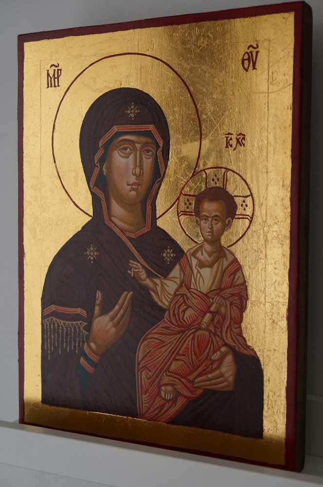 Virgin Mary Hodegetria Hand Painted Orthodox Icon on Wood