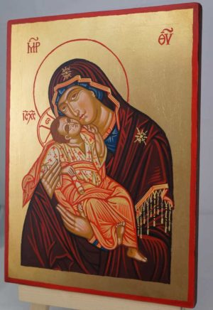 Virgin Mary Sweet Kissing Hand Painted Orthodox Icon on Wood